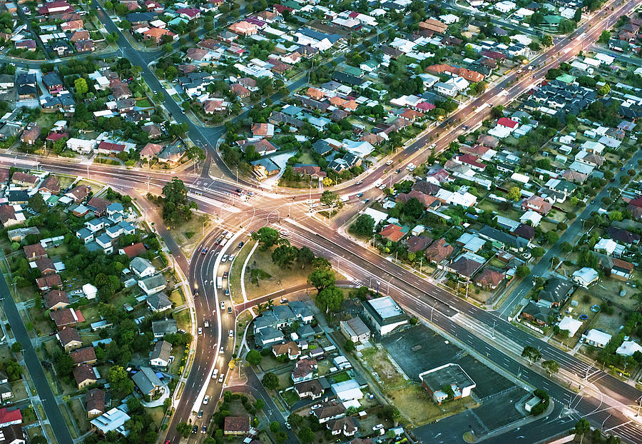 Aerial View Of Suburban Streets Photograph by Georgeclerk