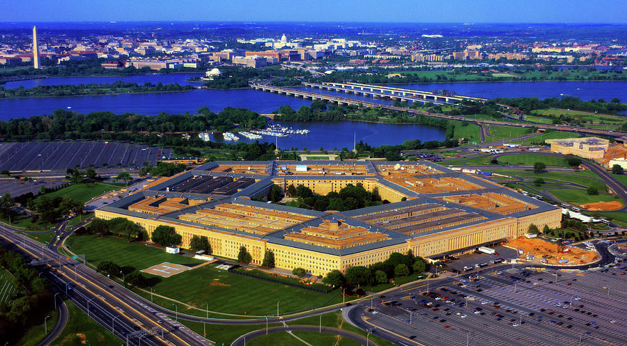 Horizontal Photograph - Aerial View Of The Pentagon At Dusk by Panoramic Images