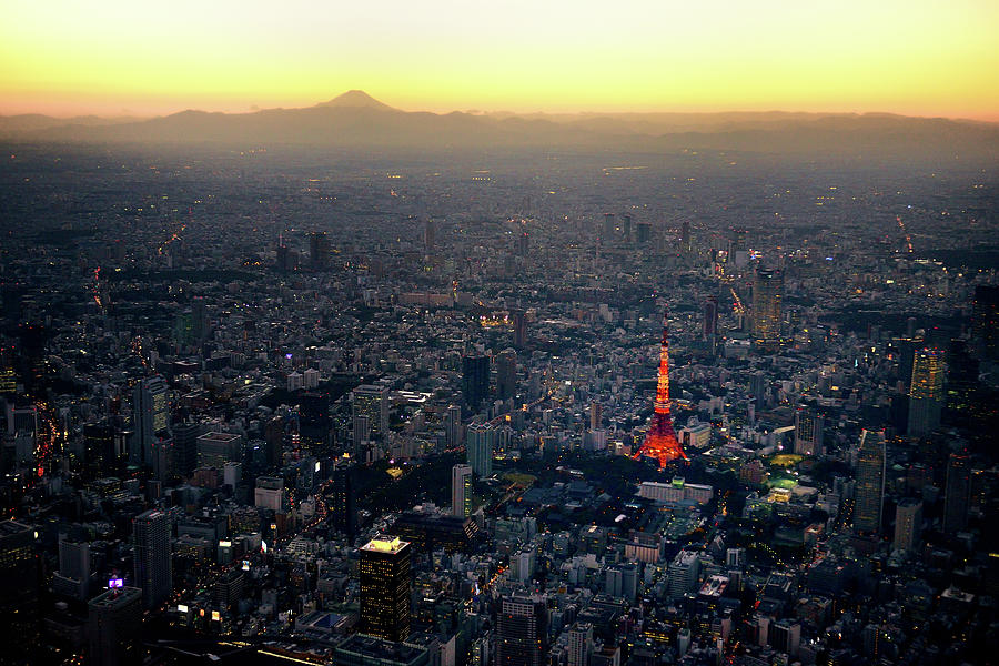 Aerial View Of Tokyo And Mount Fuji Photograph by Vladimir Zakharov