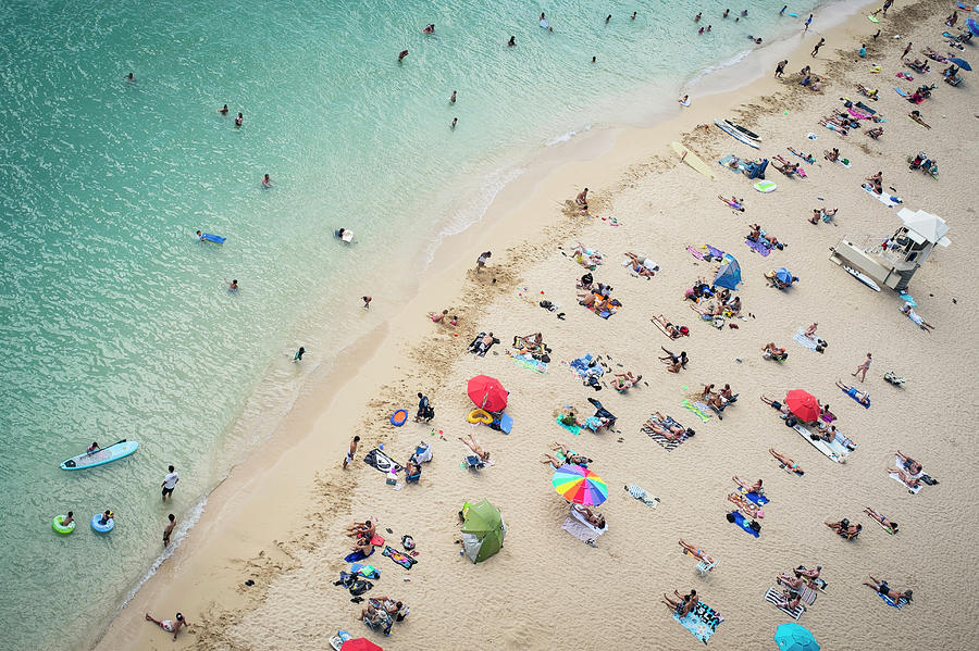 Aerial View Of Tourists On Beach Photograph by Alberto Guglielmi