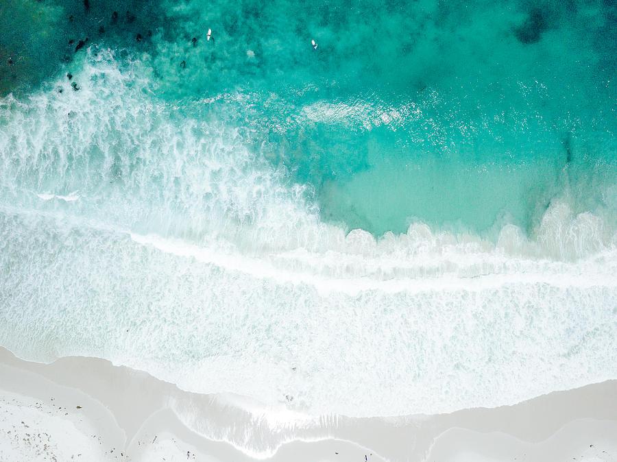 Aerial View of Waves Crashing on Sandy Beach Photograph by Ryan Herron