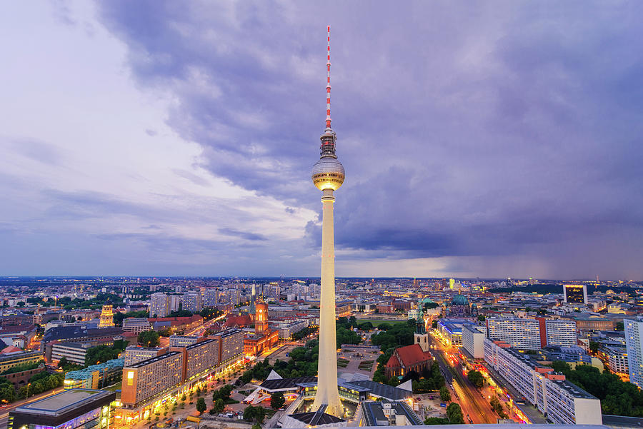 Aerial View On Tv Tower And Cityscape Photograph by Juergen Sack