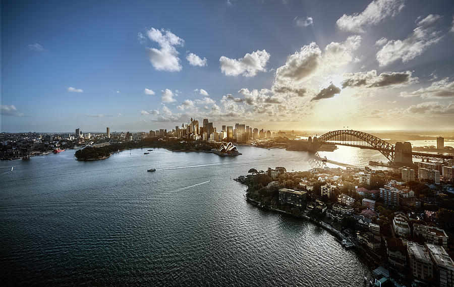 Aeriall View Of Sydney Harbour At Sunset Photograph by Howard Kingsnorth