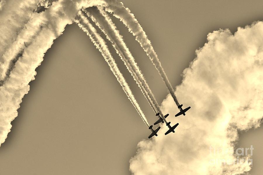Shell Photograph - Aeroshell Aerobatic Team In Sepia  by Lynda Dawson-Youngclaus
