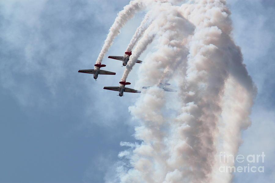Aviation Photograph - AeroShell T-6 Aerobatics by Kimberly Saulsberry