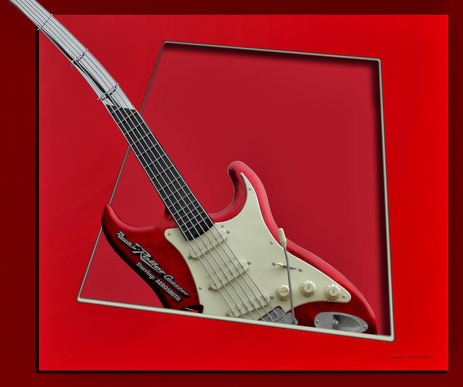 Music Photograph - Aerosmith Rockn Roller Guitar by Thomas Woolworth