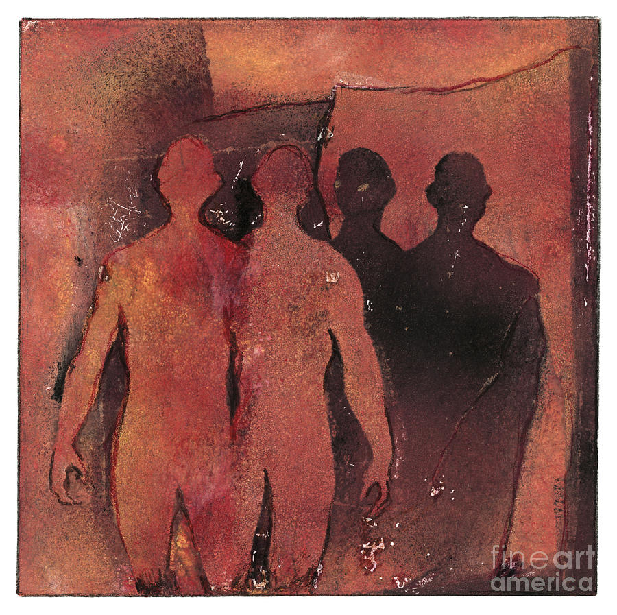 Affinity - Monotype - Figures - Friendship - Twins - Family - Etching - Fine Art Print - Stock Image Painting