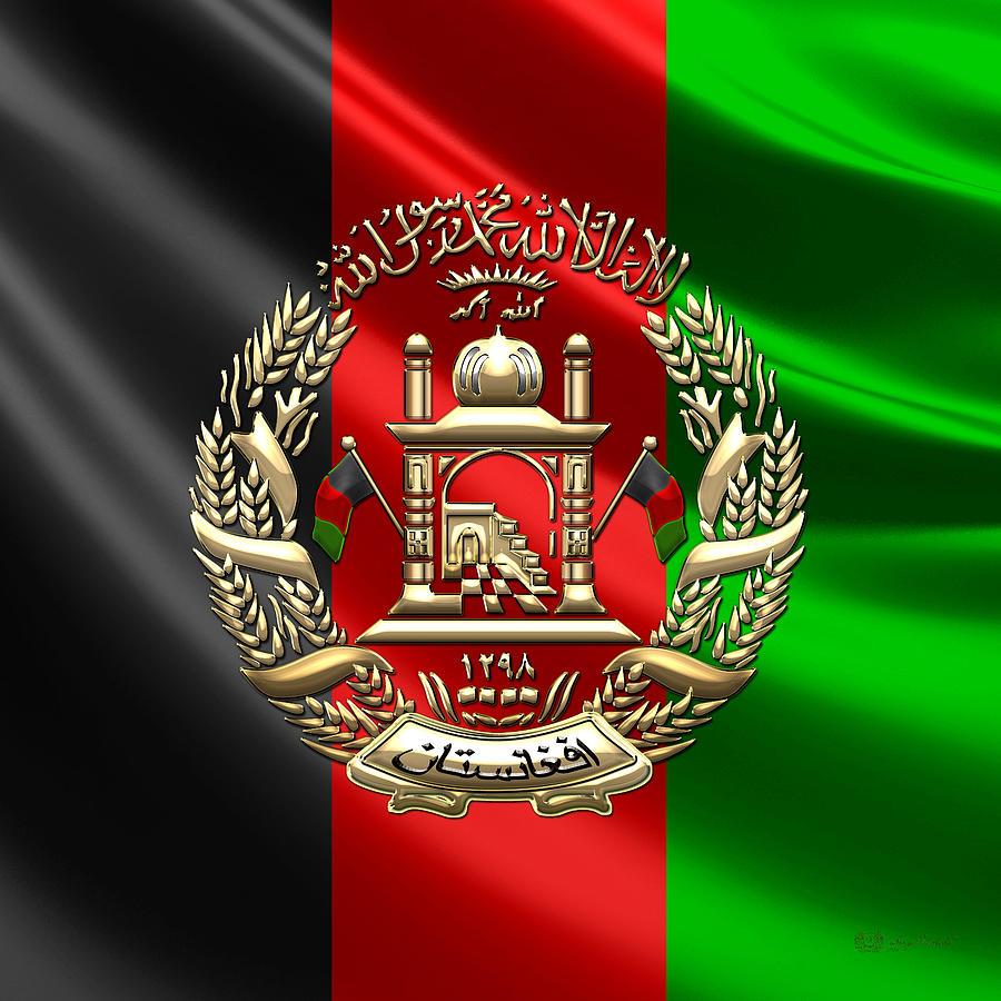 Afghanistan National Emblem Over Flag Digital Art By Serge Averbukh