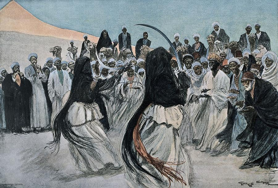 Horizontal Photograph - Africa 1901. The Dance Of The Sabre by Everett