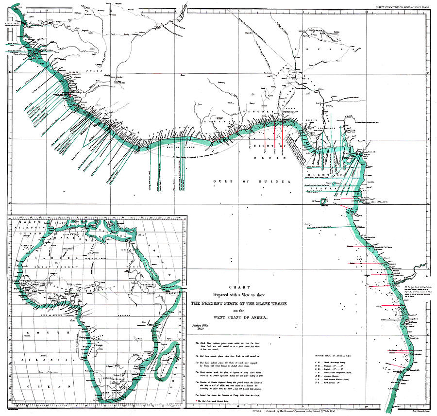 Map Of Africa During Slave Trade.Africa Map Areas Of Slave Trade 1850 By Science Source