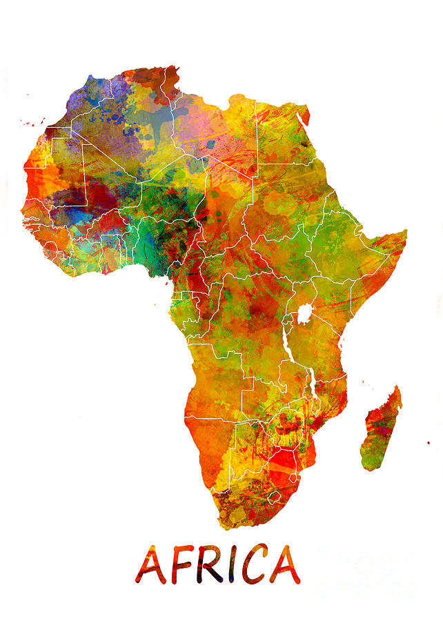 Africa Digital Art - Africa map colored by Justyna Jaszke JBJart