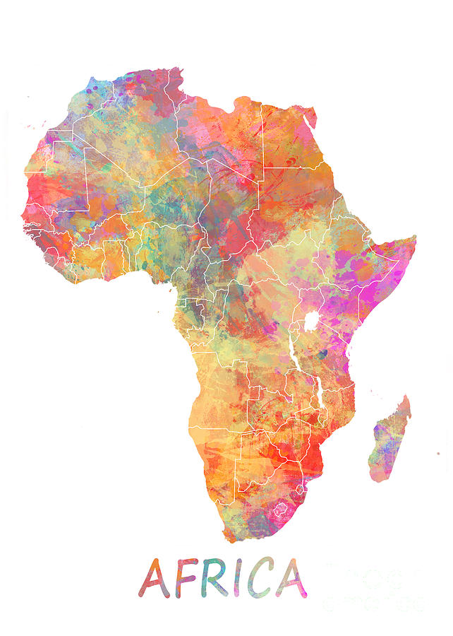 africa map art africa watercolor map digital by justyna jbjart 10025