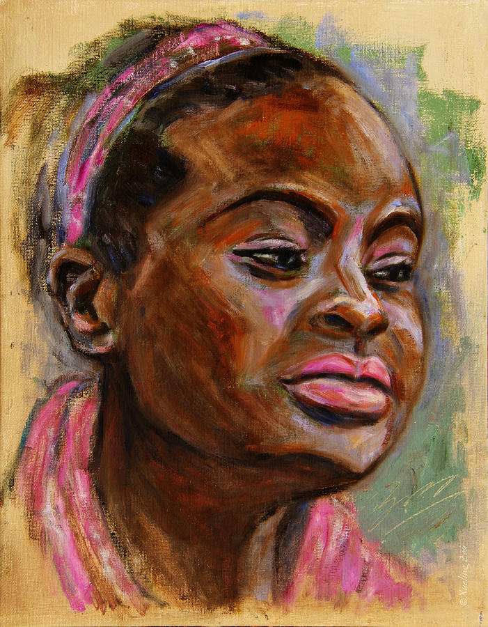Woman Painting - African American 3 by Xueling Zou