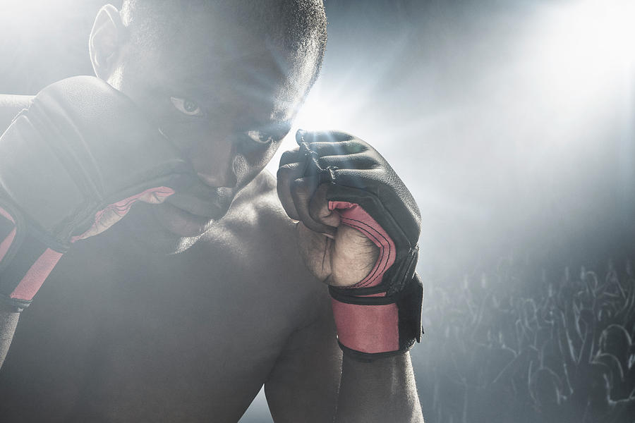 African American Mma Boxer With Gloves Photograph by John Fedele