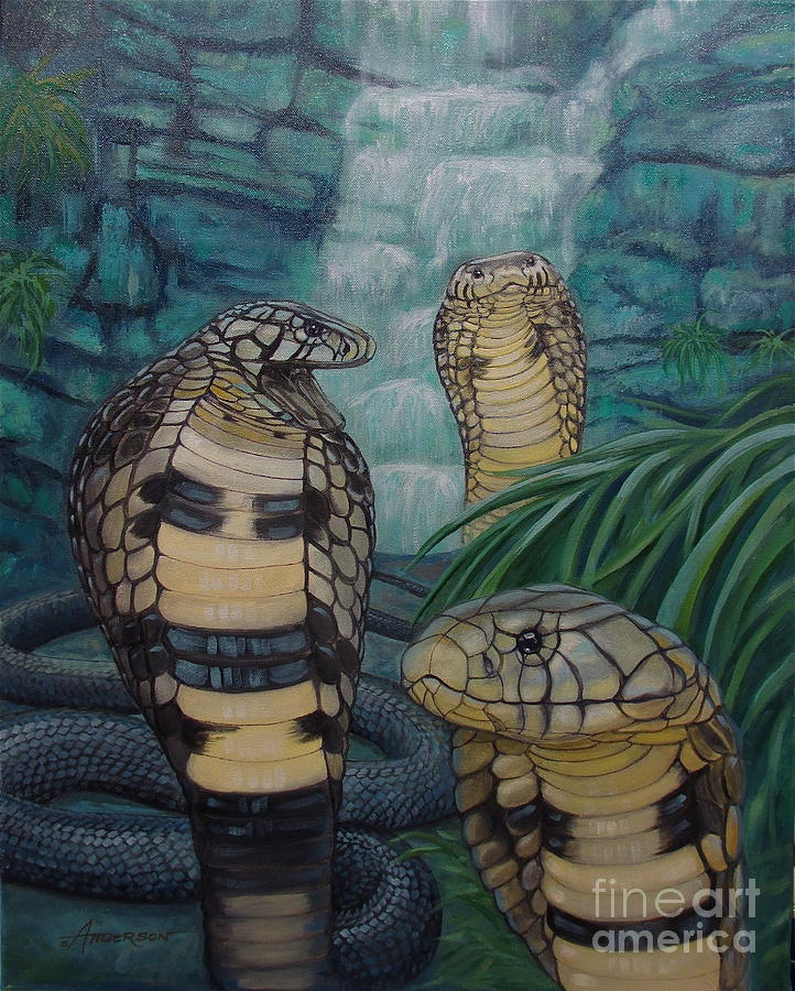 African Painting - African Black Forest Cobras by Sherri Anderson