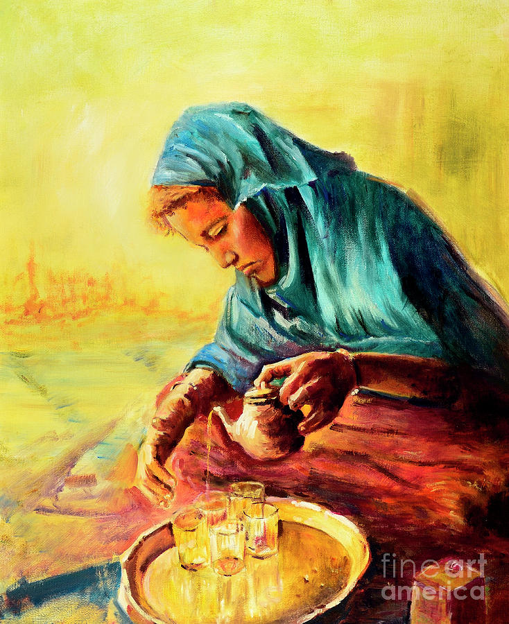 Woman Painting - African Chai Tea Lady. by Sher Nasser