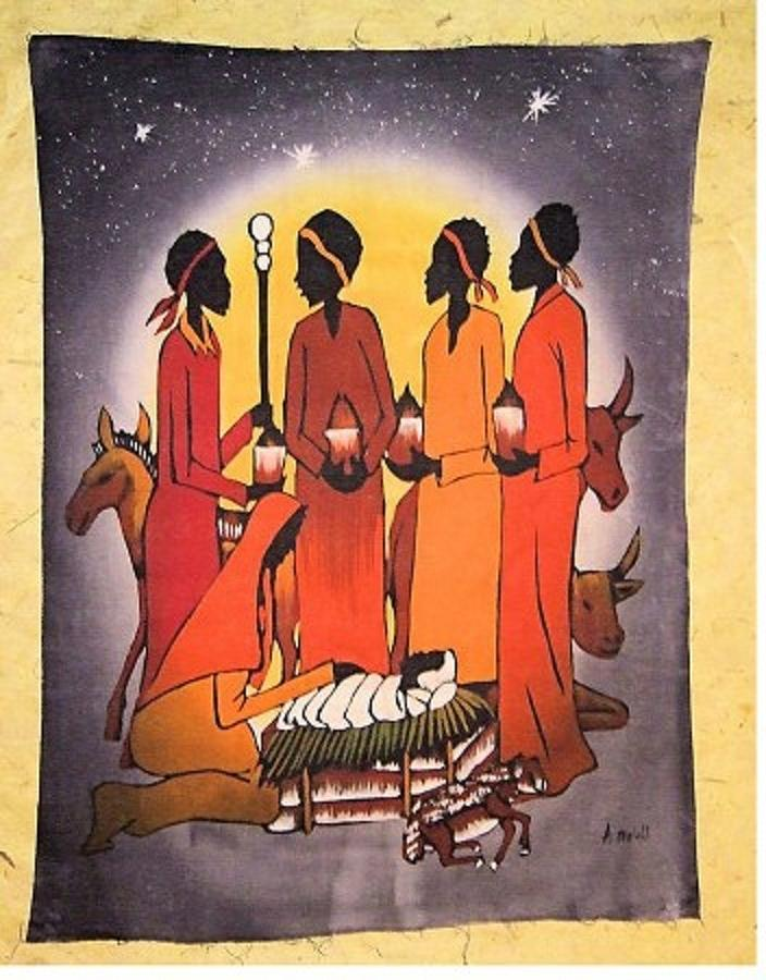 African christmas nativity painting by sam mart for African christmas decoration