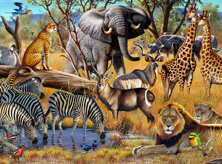 African Collage Painting by JQ Licensing