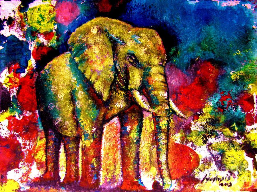 Wild Animal Painting - African Elephant by Anastasis  Anastasi