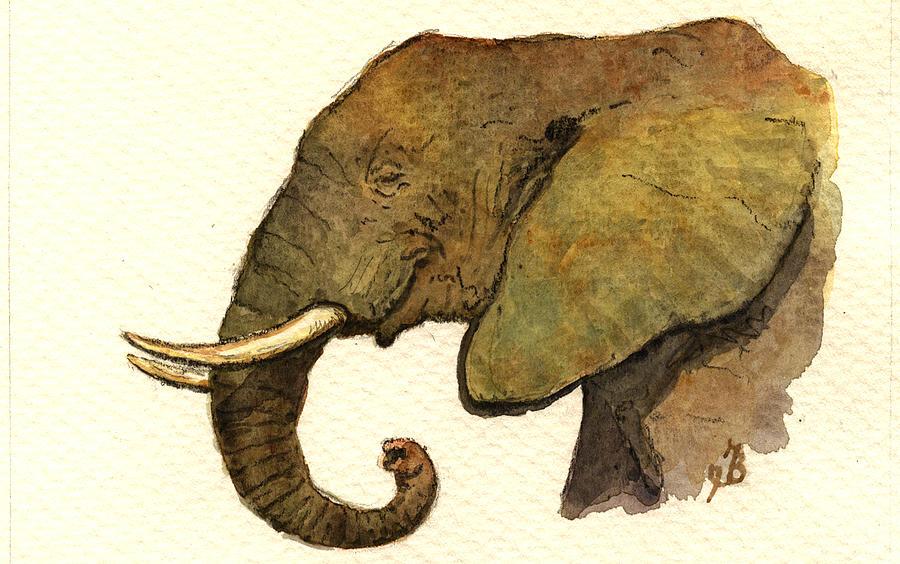 Elephant Painting - African elephant head by Juan  Bosco