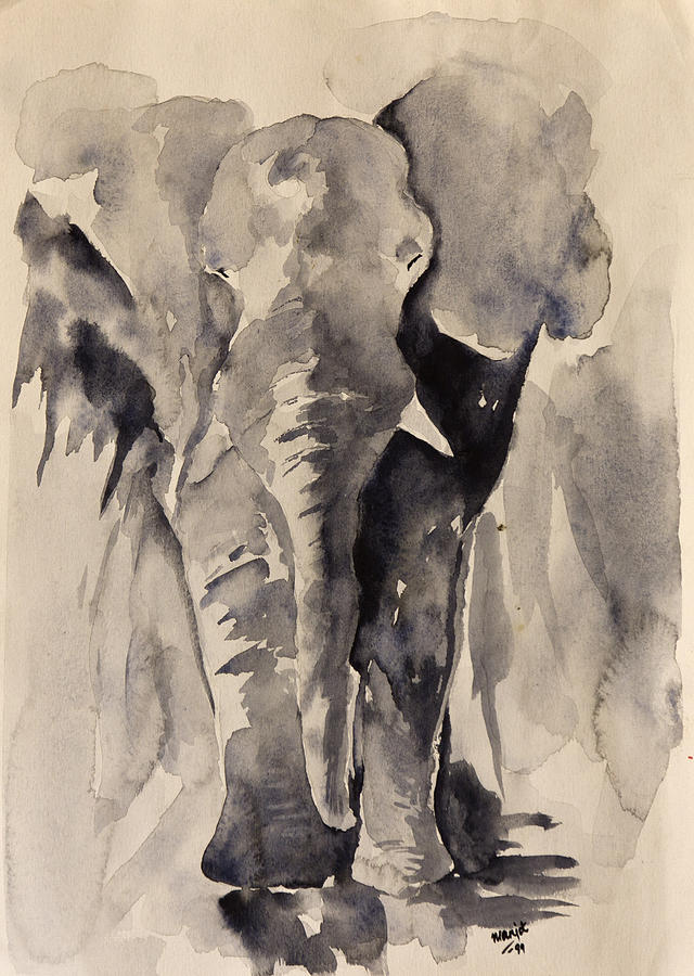 African Painting - African Elephant by Rina Bhabra