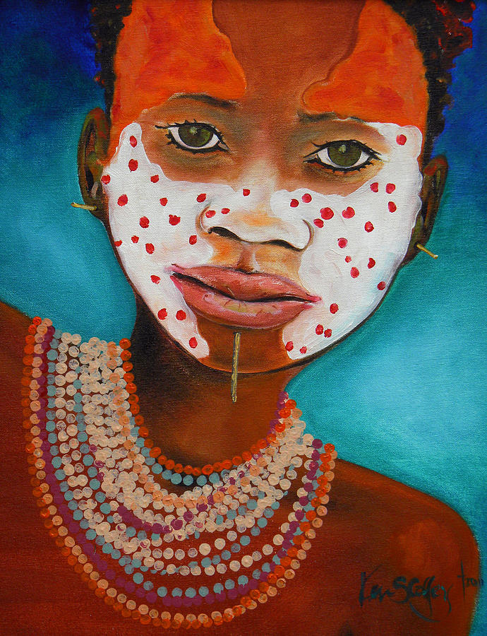 African Painting - African Face Paint by Ken Caffey