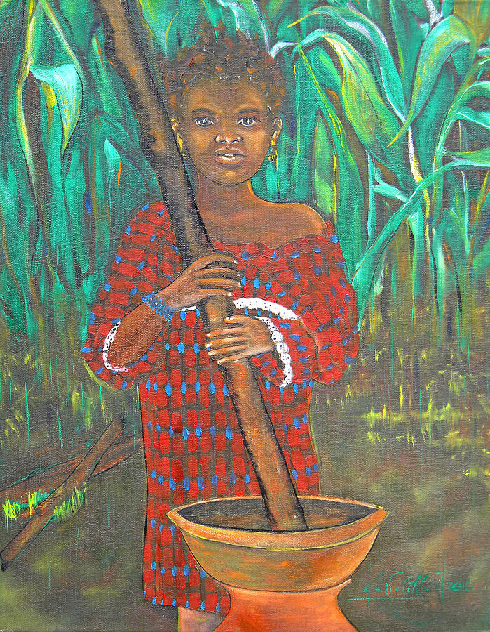 Colorful Painting - African Girl Cooking by Ken Caffey