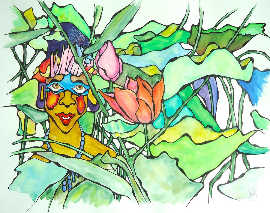 Lady Painting - African Lady In Leaves by Glenn Calloway