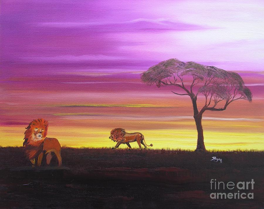 African Painting - African Lions by Barbara Hayes