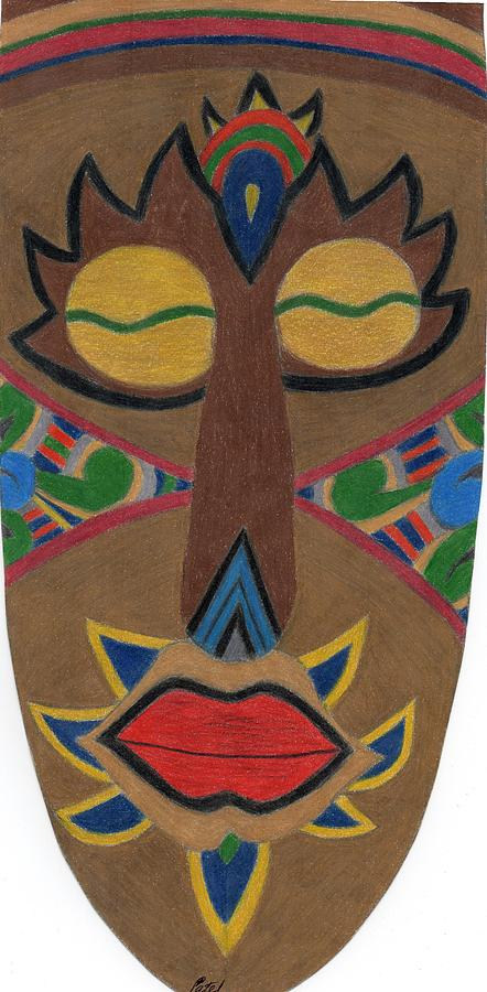 Africa Drawing - African Mask by Bav Patel