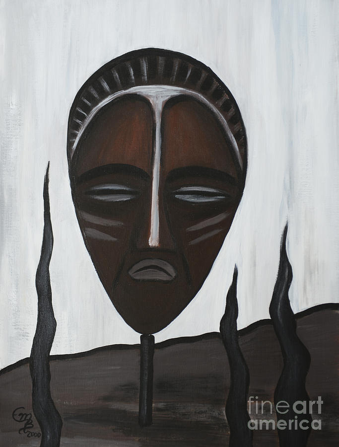 Mask Painting - African Mask II by Eva-Maria Becker