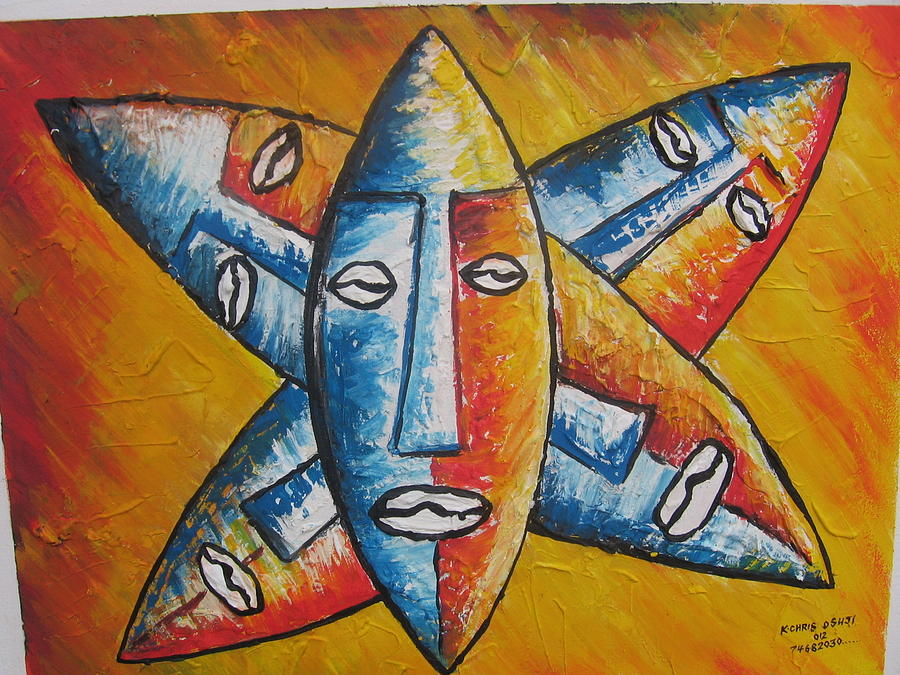 African Mask Painting by Kchris Osuji