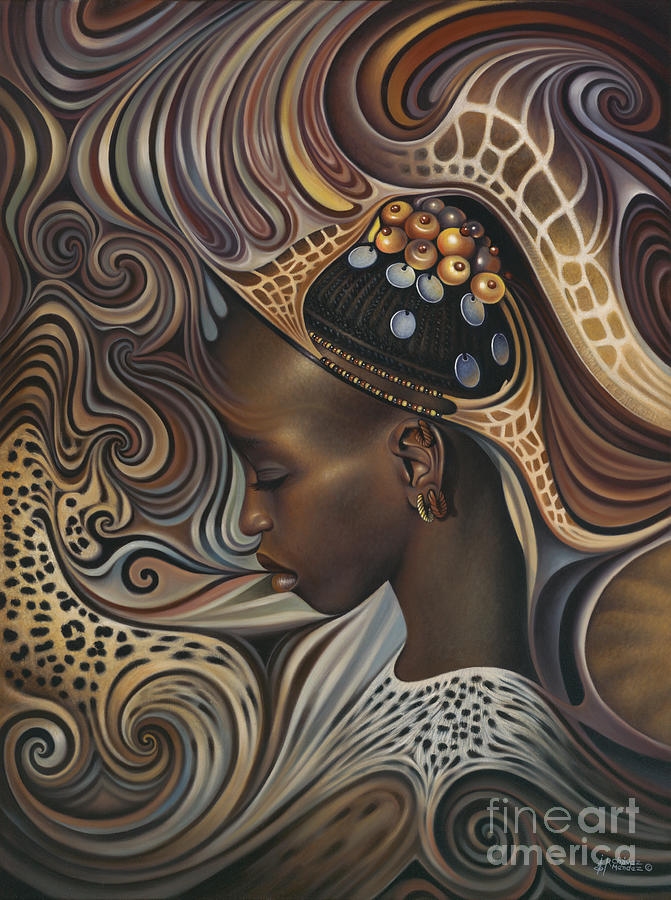 African Painting - African Spirits II by Ricardo Chavez-Mendez