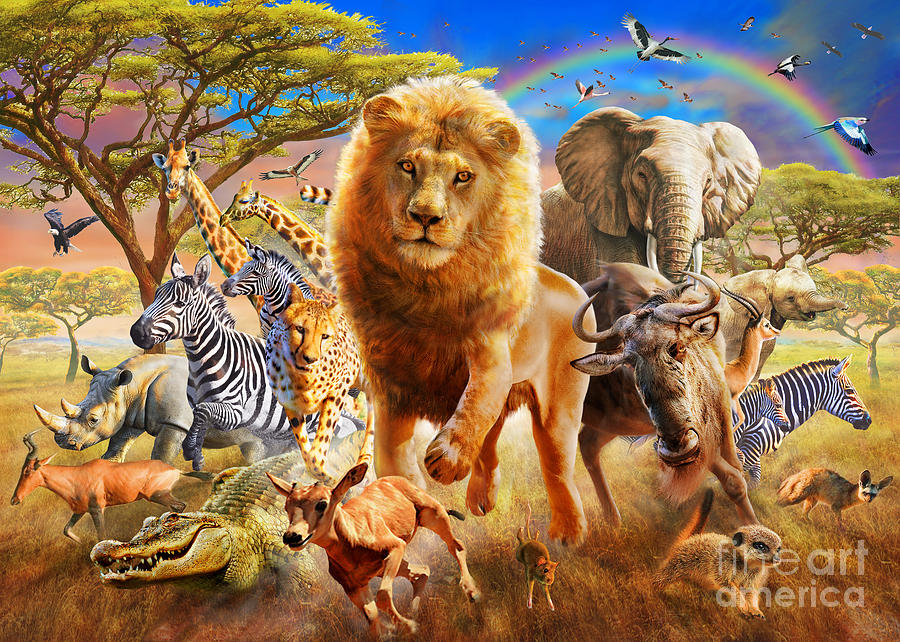 African Stampede Digital Art By Adrian Chesterman
