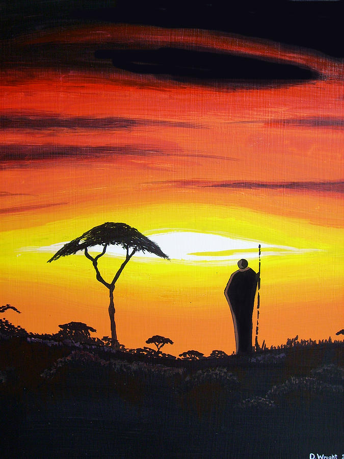African Sunset Painting by David Wright