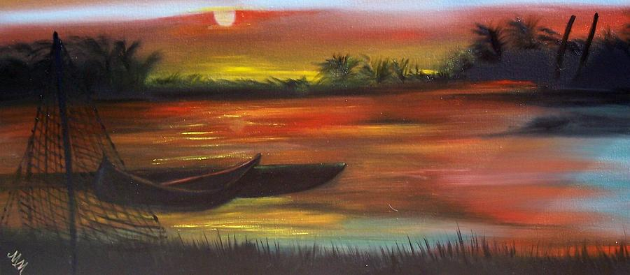 Sunset Painting - African Sunset by Martha Mullins