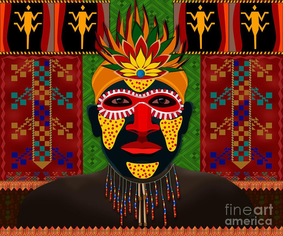 African Digital Art - African Tribesman 1 by Bedros Awak