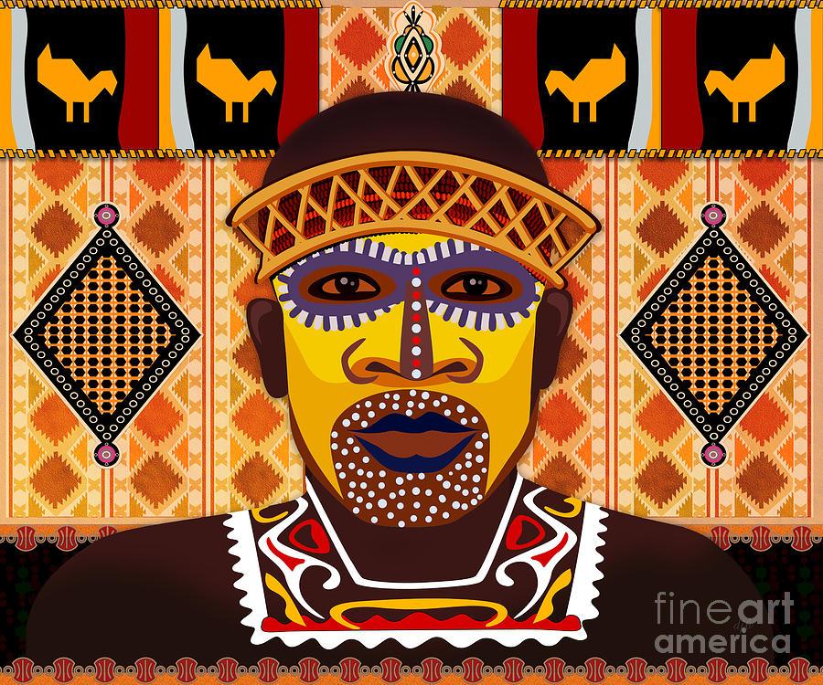 African Digital Art - African Tribesman 2 by Peter Awax