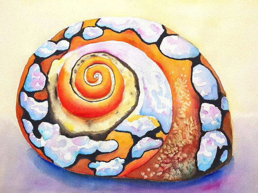 Shell Painting - African Turbo Shell by Carlin Blahnik CarlinArtWatercolor