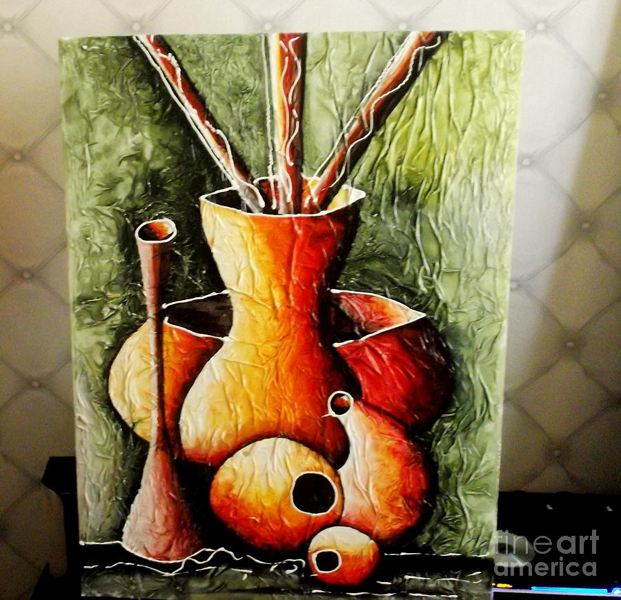 African Vases 2 Painting By David Aruna