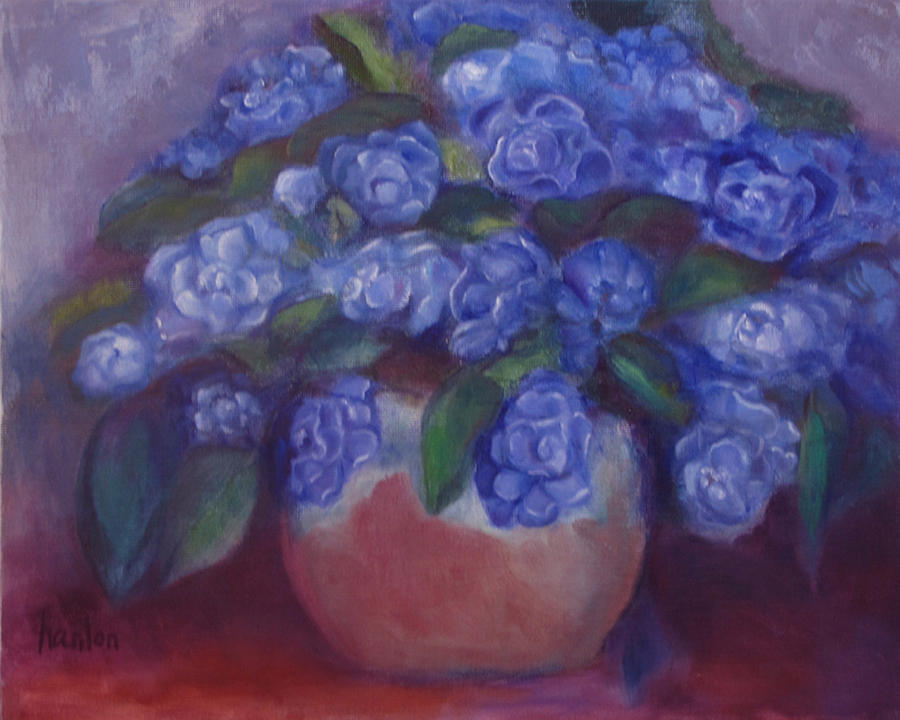 Still Life Paintings Painting - African Violets by Susan Hanlon