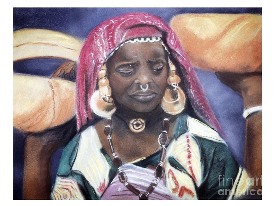 African Women Pastel - African Women Series-African Woman by JackieO Kelley