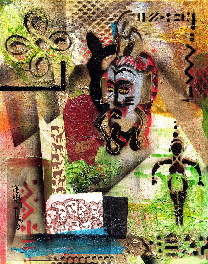 African Mask Painting - Afro Aesthetic A  by Everett Spruill