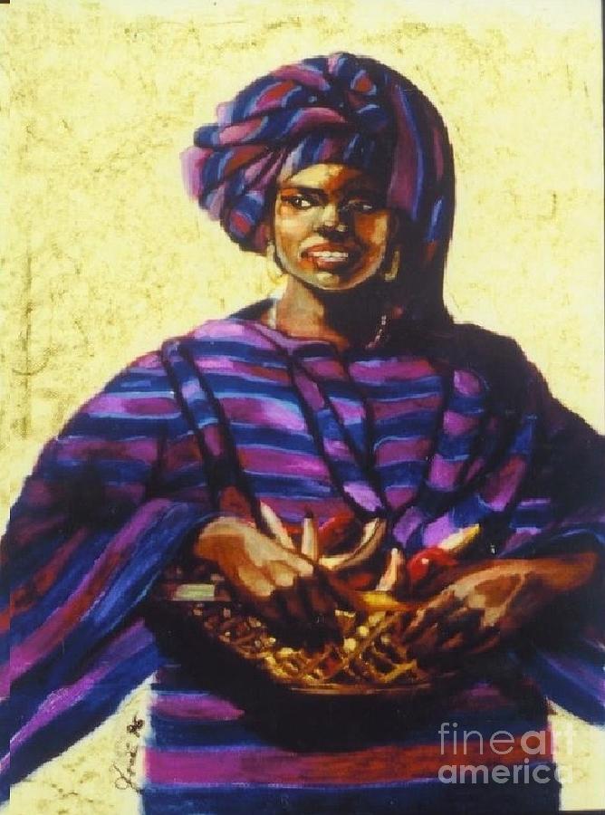 Portrait Painting - Afro Caribe Fruit Baskit by Jose Breaux