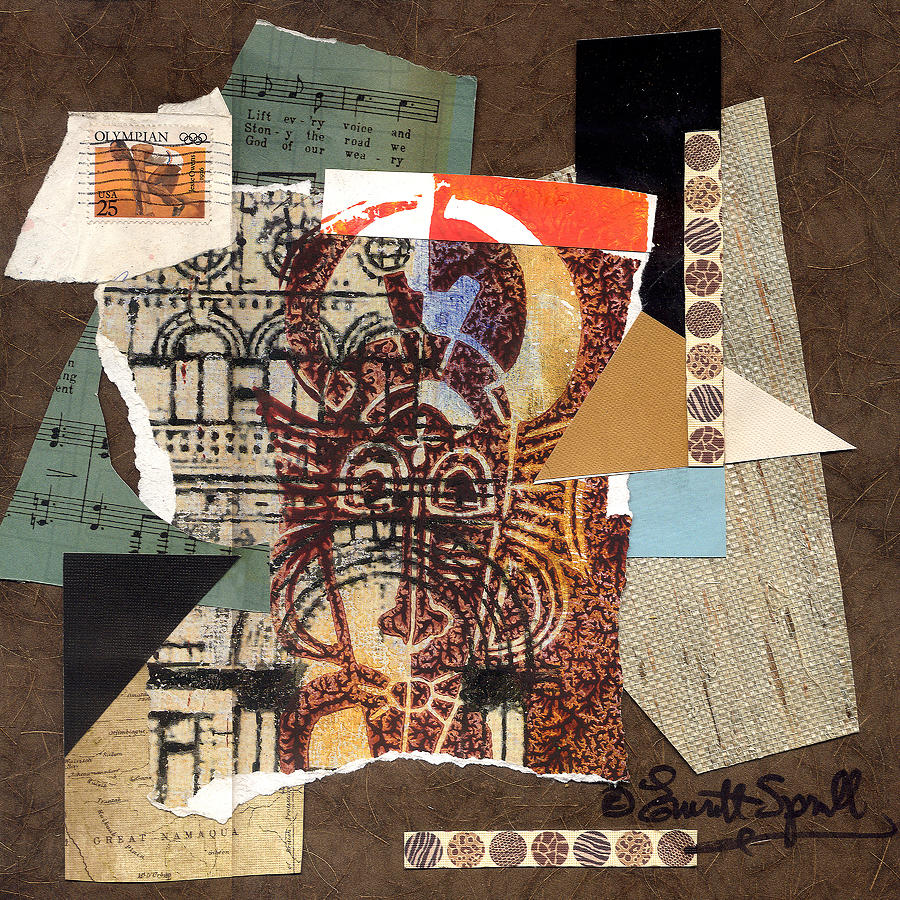 Everett Spruill Painting - Afro Collage B by Everett Spruill