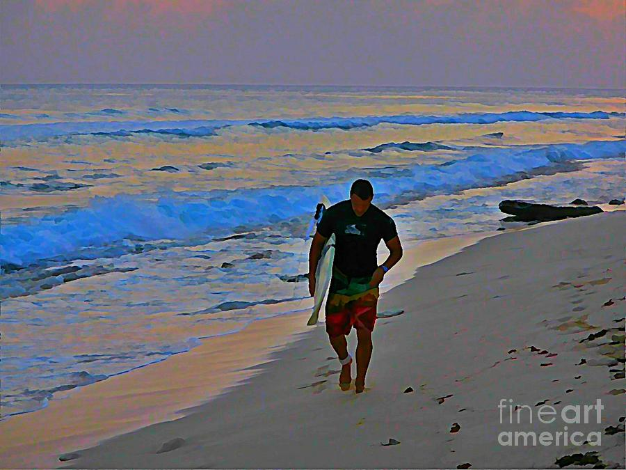 Surfers Painting - After A Long Day Of Surfing by John Malone