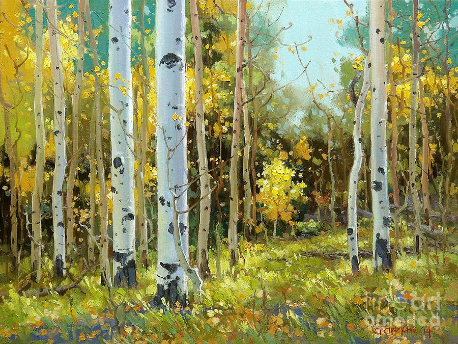 Aspen Trees Painting - After a rain shower by Gary Kim