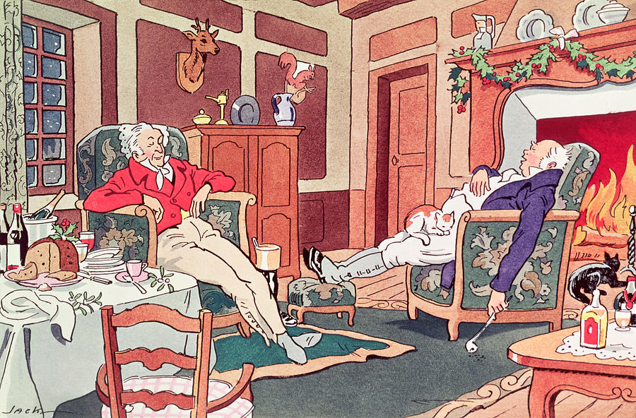Asleep Painting - After Christmas Lunch by Anonymous