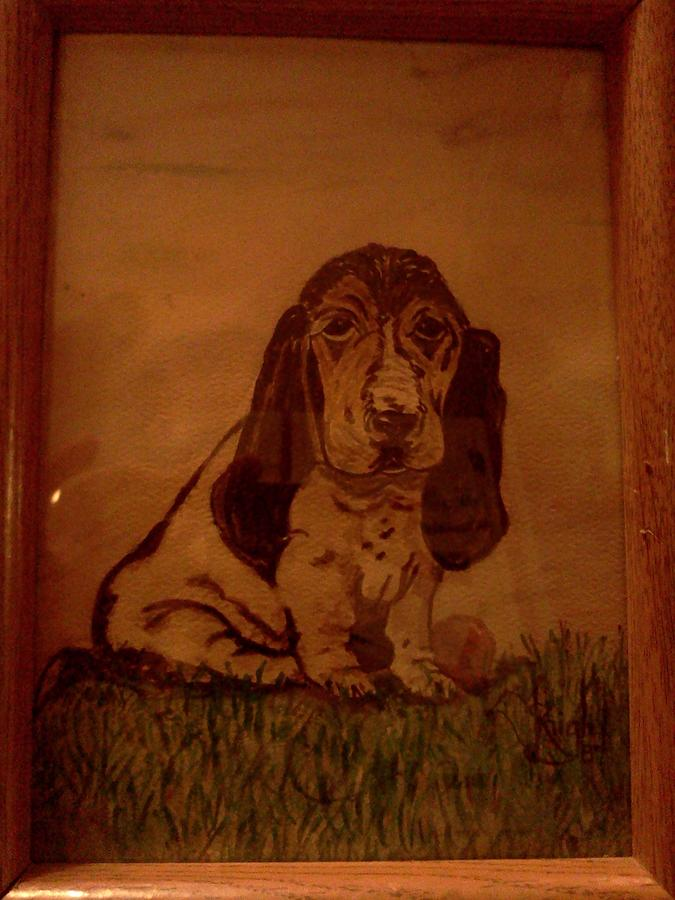 Basset. Pup With Red Ball On Grass Painting - After I Played  by Renee McKnight