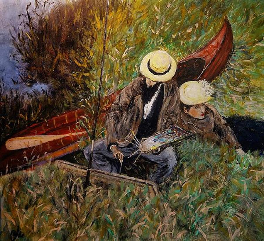 Sargent's Work Painting - After John Singer Sargent- Paul Cesar Helleu Sketching With His Wife 1889 by Cristina Mihailescu